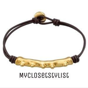 UNO de 50 18K Gold NWT Black Leather Cord Bracelet